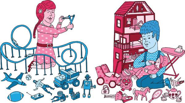 Девочка играет с «мальчишьими» игрушками, мальчик — с «девчачьими»